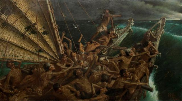 Louis John Steele and Charles F Goldie, Oil on canvas, 1898, the arrival of Maoris in NZ.jpg
